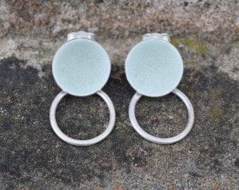 Grey circle and hoop earrings