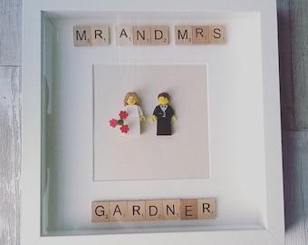 Lego bride and groom wedding frame