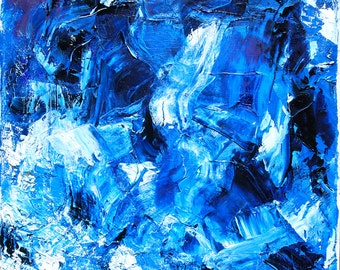 Original Abstract Painting, Square Canvas Art, Blue Explosion by Joanna Frick