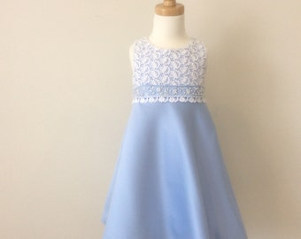 Girls Satin & Lace Party Dress - Size 2 - Flower Girl Dress - Girls Beaded Dress - Girls Blue Satin Lace Dress- READY TO SHIP