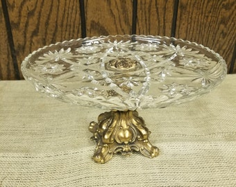 Crystal compote with brass pedestal