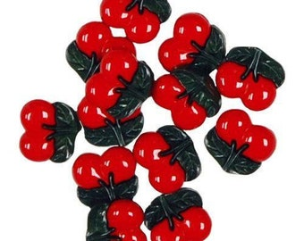 Assortment of 12 cherry decorative buttons - button cherry - button Cherry