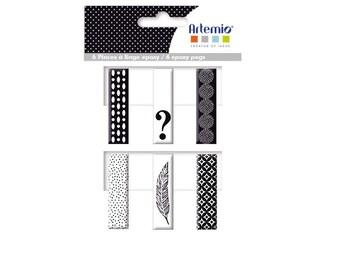 6 clips linen Black & White - Clothespin epoxy - enamel Clothespin