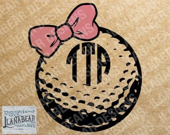 Golf Ball With Bow Monogram