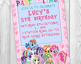 Pink Girls My Little Pony Personalised Party Invitations Kids Birthday Invites Printable Digital Jpeg File