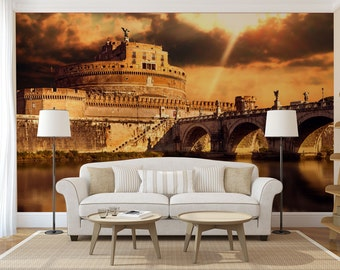 Castel Sant'Angelo Rome MURAL, self adhesive peel and stick photo wall mural