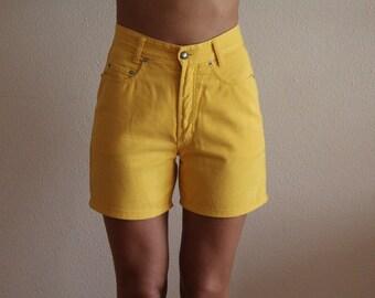 Vintage 90s Women's Shorts Yellow Denim Shorts Jeans Shorts High Waisted Shorts Medium Size