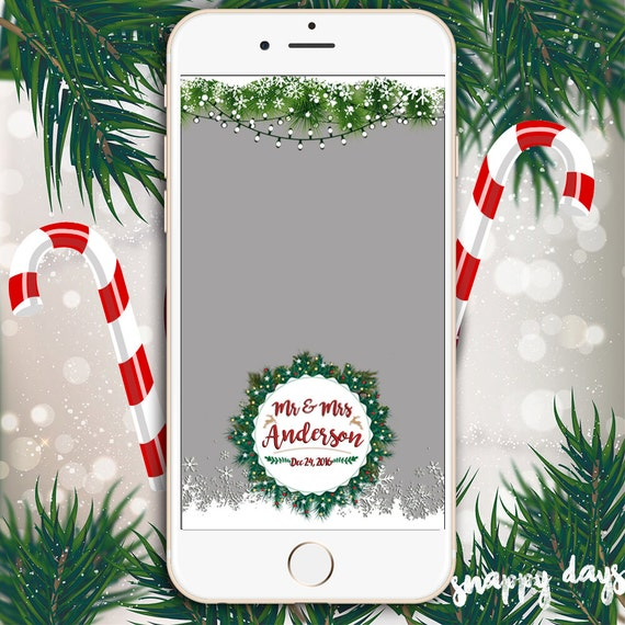SNAPCHAT CHRISTMAS Geofilter String Lights Snow & Garland