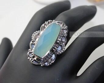 Chalcedony Ring, 925 Sterling Silver Ring, Gemstone Rings, Crystal Rings, Healing Rings