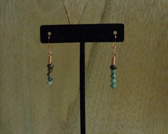 African Turquoise Bead & Copper Earrings
