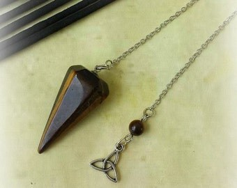 Tiger Eye Pendulum, Divination, Witchcraft Supplies, Healing Crystals, Crystal Pendulum, Dowsing Pendulum, Divination Tool, Witch