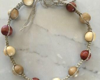 Wooden beads hemp choker