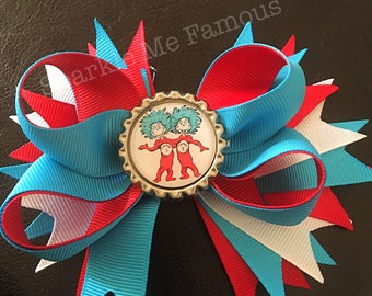 Thing 1 and Thing 2 Dr. Seuss inspired Hairbow