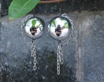 Silver sphere earrings