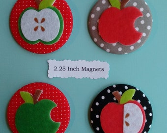 Set 2 Fabric  Pinback Buttons + 2 Fabric Magnets  2.25 inch