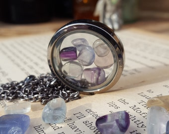 Purple Fluorite Locket Pendant, natural gemstone, gunmetal, vintage style, suncatcher, crystal
