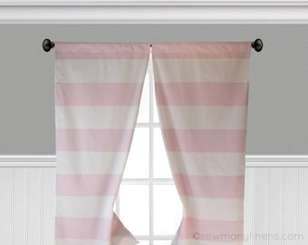 Horizontal Wide Stripe Curtain Panels Window Treatments Light Pink Baby Girl Nursery Curtains Custom Drapery Decor Drapes