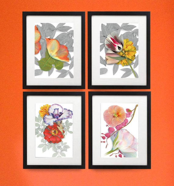 """Four Framed flower prints. Each in a 11"""" x 14"""" wood frame with four 8"""" x 10"""" floral prints. Modern botanicals in unique setting."""