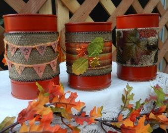 Upcycled Fall Autumn Containers