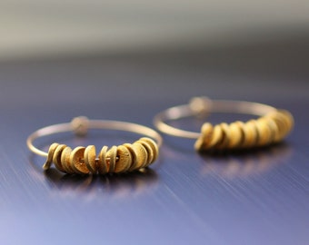 hoop earrings with beads, small gold hoop earrings, modern earrings, gold earrings. gold bead earrings, disk hoop earrings