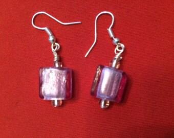 Lavender glass bead earrings