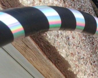 Rainbow sheen silver and black weighted dance hoop custom size and tubing