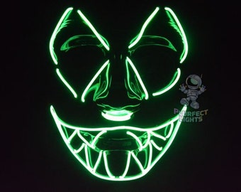 "Halloween Mask ""SharpTooth"" El Wire Mask Perfect for Raves, Festivals, and Lightshows"