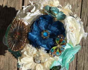Brooch Bouquet - Something Old, Something Blue