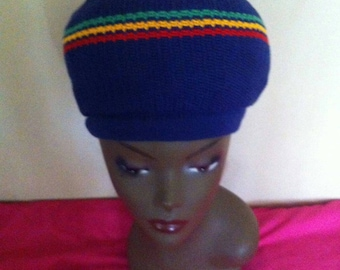 Rasta tam - royal blue with red green and gold