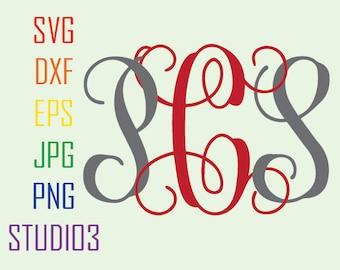 Interlocking Monogram Fonts, Svg, Dxf, Eps, Studio 3, Png, Jpg, Silhouette Studio,Cricut Files, SVG files, Silhouete Cameo, Cutting Files