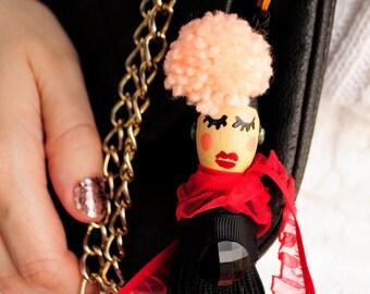 Bag charm/Pretty Women Handmade Doll/tassel/pompom/car accessories/fashion accessories/gift/for her/keyring/