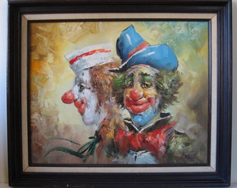 "Vintage WILLIAM MONINET Pair of Clowns Oil Painting 16"" x 20"" Framed"