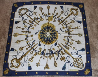 """Authentic Hermes Scarf Silk 93cm/35"""" 'Les Cles' - Blue"""