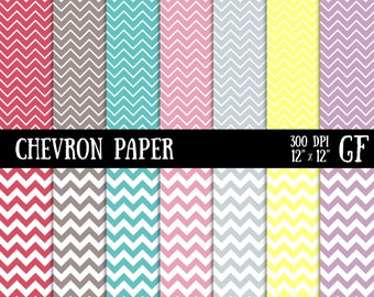 Chevron Digital Paper, Scrapbook Paper Pack, Digital Paper, Chevron Printable, Chevron Pattern, Small Chevron, Chevron Pages, ZigZag Paper