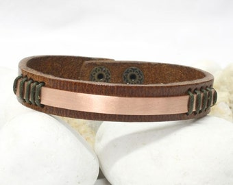 EXPRESS SHIPPING mens leather bracelet , leather bracelet , Men's Leather copper Bracelet,  leather bracelet, bracelet for men ,