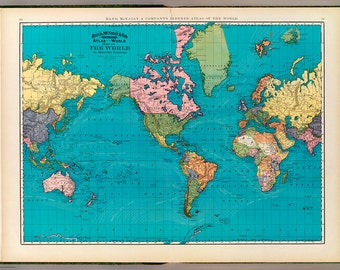 Digital world map hight printable - poster