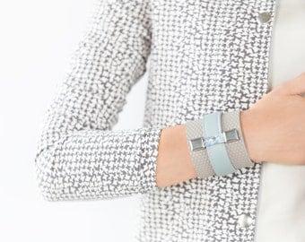 grey leather bracelet, womens leather bracelet, women's bracelet, grey bracelet, grey cuff