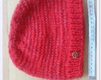 Red 100 % Merino Wool Beanie_Reflexion