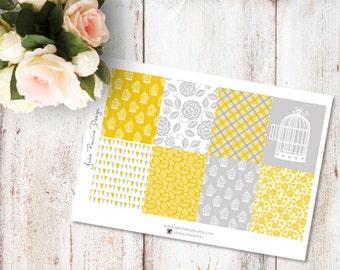 Planner Stickers for the vertical Erin Condren Life Planner - Yellow Bird Kit Full Boxes Sheet
