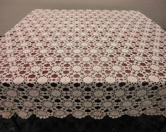 Queen Bed Hand Crocheted Coverlet. 90x86