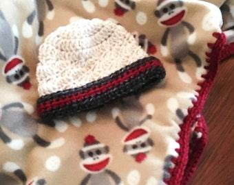 Sock Monkey Baby Blanket and Hat