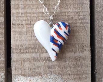 "Florida Gator Heart Pendants, 3/4"" Polymer Clay Heart Pendants in Blue, Orange and White"