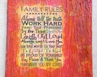 Acrylic painting canvas 20 x 20 x 1.7 family rules modern painting structures