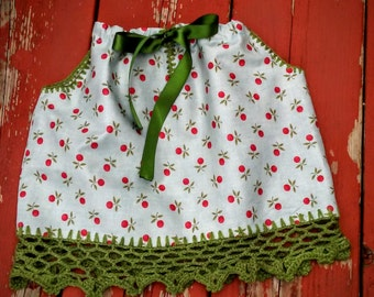 Pillow case dress with vintage hand crochet