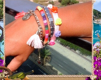 Boho Ibiza friendship cuff with roses, coins and tassels, Multi color Friend ship bracelet,
