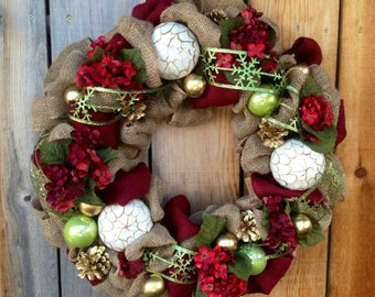 Red and Green Burlap Christmas Wreath