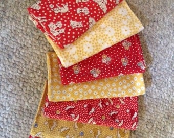 Flowers, puppies and ducks Yellow and Red 30's prints set of seven fat quarters