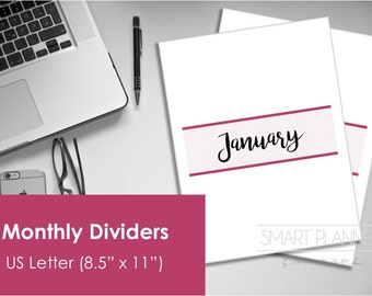 "Printable Monthly Divider Pages. US Letter Size (8.5""x11"") , Portrait. Instant download. PDF format. High resolution 300 dpi."