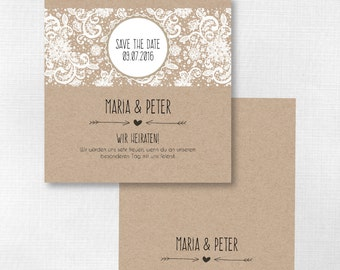 Save the date card - vintage wedding