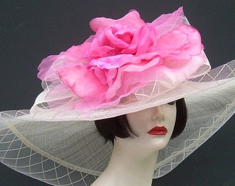 "Ivory Soft Sinamay 9"" Brim/Pink Rose"
